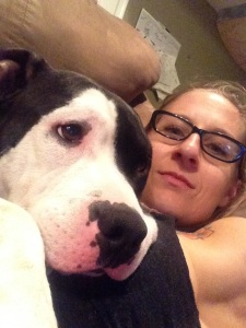 All 60#s of pibble love, snuggling on top of mama!